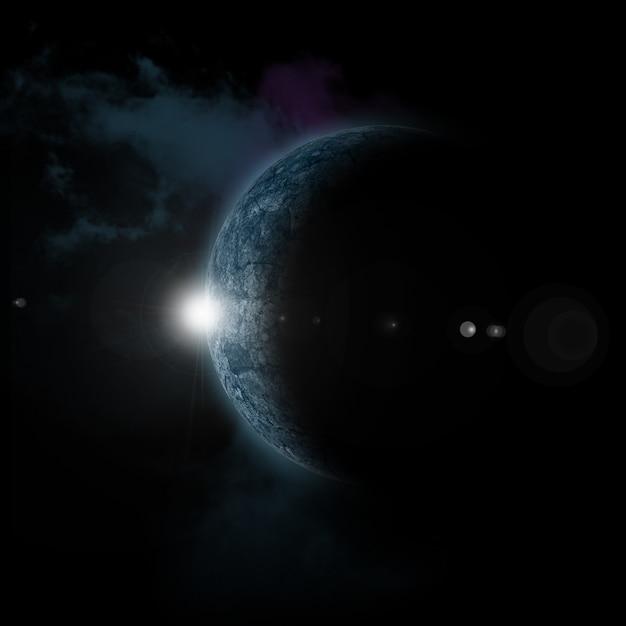 Sol nascendo atrás do planeta fictício Foto gratuita