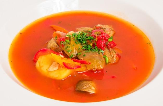 Sopa de tomate com carne Foto gratuita
