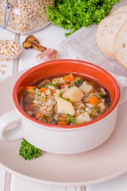 Sopa vegan com cevadinha, legumes e cogumelos Foto Premium