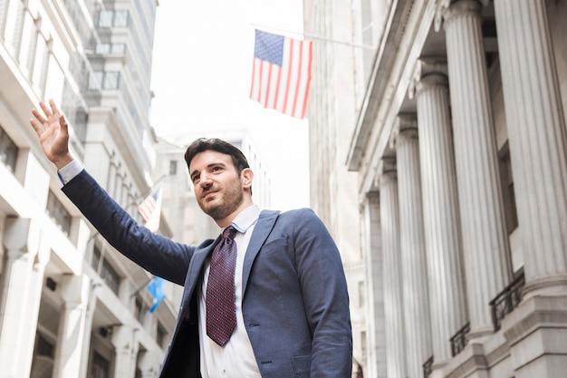 Sorrindo, homem negócios, saude táxi Foto gratuita