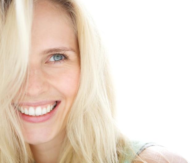 Sorrindo, loura, mulher Foto Premium