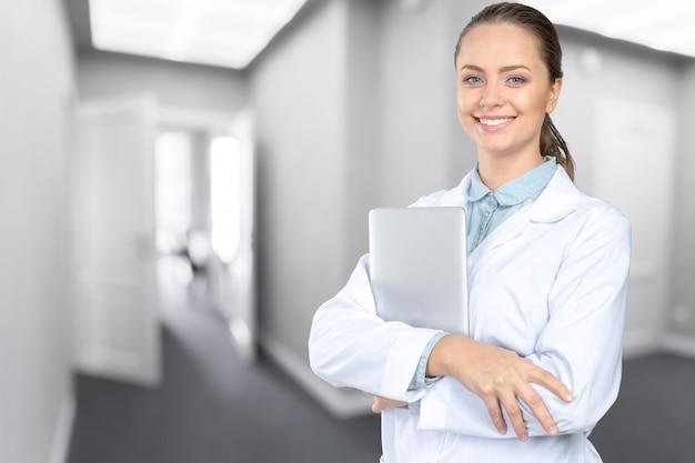Sorrindo, médico mulher, doutor Foto Premium