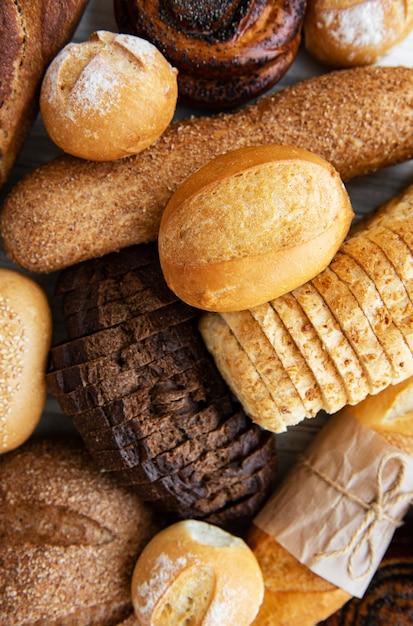 Sortido, assado, pão Foto Premium