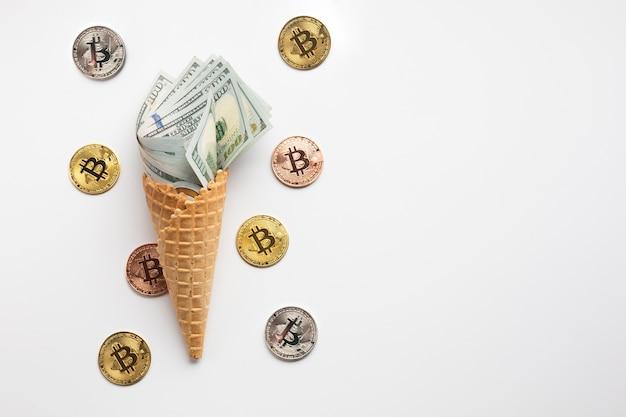 Sorvete de moeda com bitcoin Foto gratuita