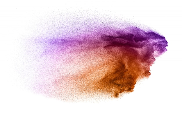 Splatter de partículas rosa em fundo branco Foto Premium
