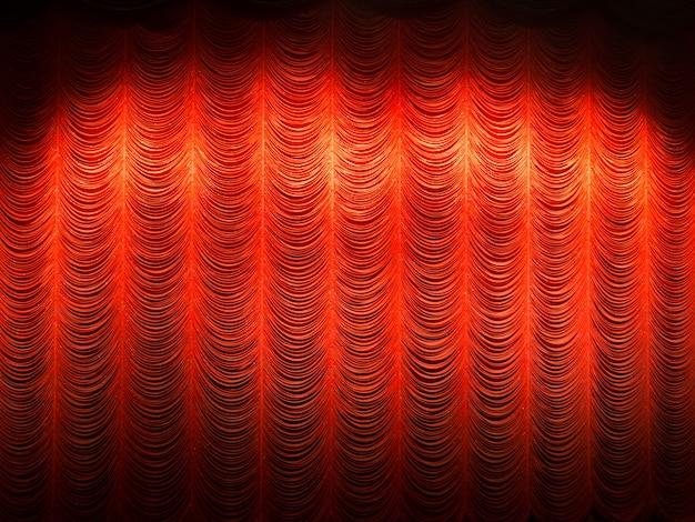 Spotlight na cortina de camada vermelha ou cortinas fundo no teatro Foto Premium