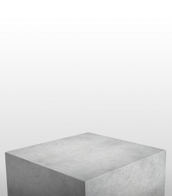 Stand de exposição do produto feito de concreto cinza com copyspace branco no topo Foto Premium