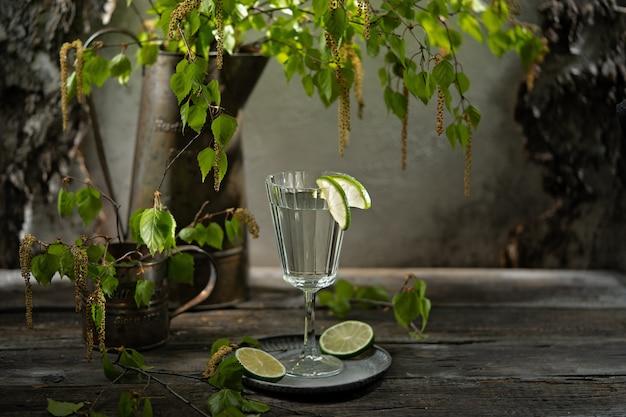 Suco de bétula com fatias de limão, ramos jovens e botões floridos de bétula. cozinha russa Foto Premium