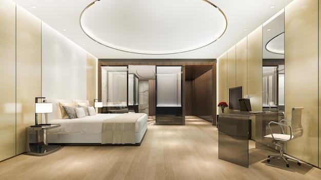 Suíte de luxo em hotel com mesa perto do banheiro e teto redondo Foto Premium