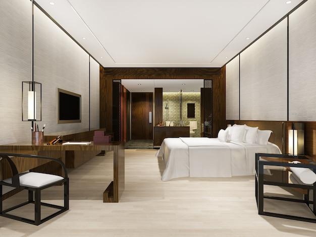 Suíte de luxo moderna em hotel com decoração em estilo asiático Foto Premium