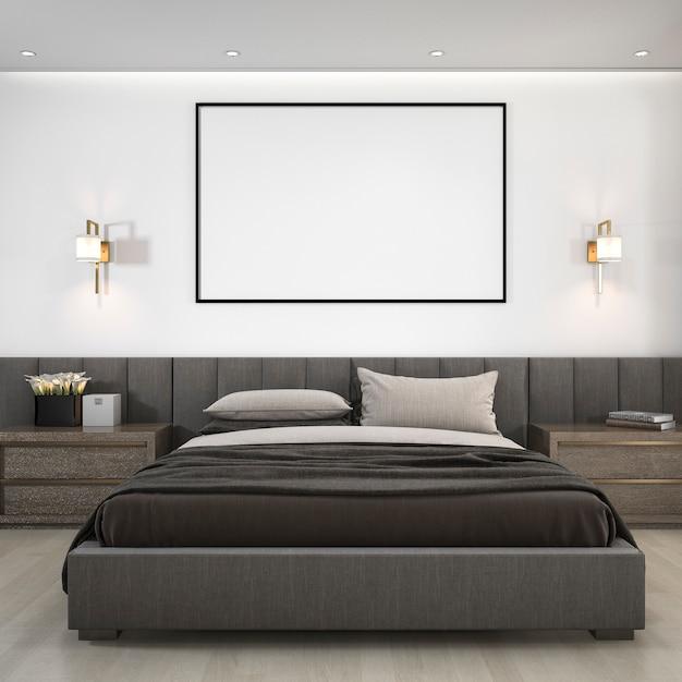 Suite de quarto moderna luxuosa da rendição 3d no hotel com quadro Foto Premium