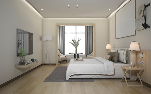 Suite de quarto moderna mínima luxuosa da rendição 3d no hotel Foto Premium
