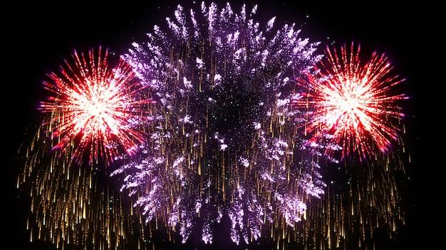 Sumário 3d. animação realista de fogo de artifício colorido. Foto Premium