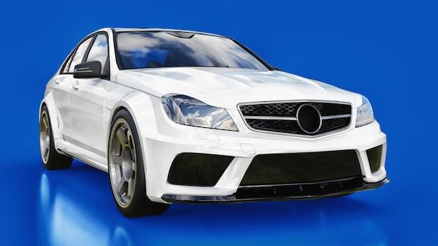 Super rápido carro esporte branco sobre um fundo azul. sedan com forma do corpo. tuning é uma versão de um carro familiar comum Foto Premium