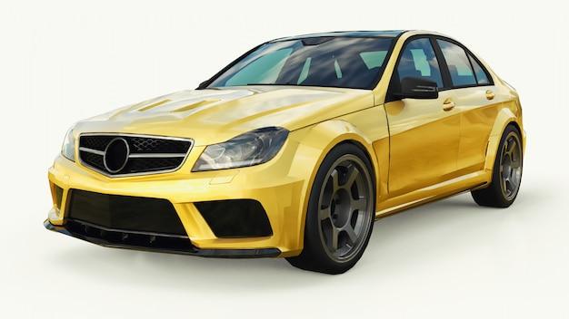 Super rápido esportivo carro cor ouro metálico em branco Foto Premium