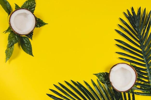 Superfície amarela com cocos e folhas de palmeira Foto gratuita