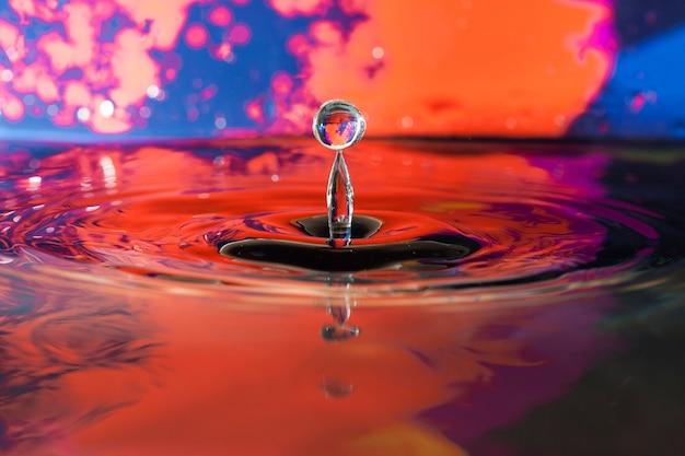 Superfície da água com gota e fundo colorido Foto gratuita