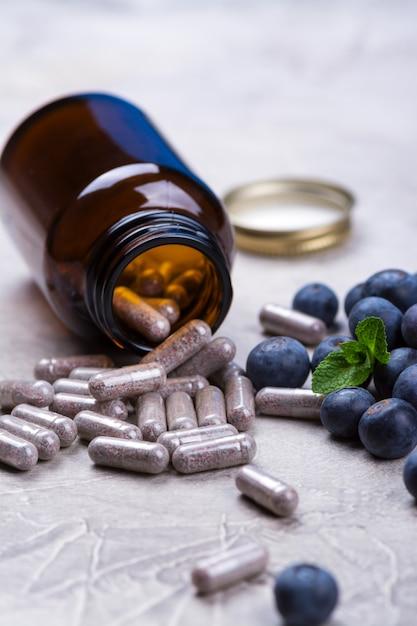Suplemento biologicamente ativo - pílulas para olhos saudáveis Foto Premium