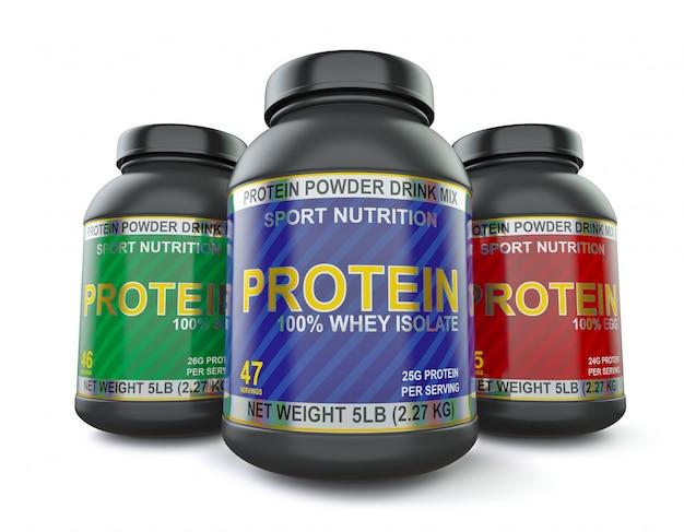 Suplementos de proteína para musculação isolados no branco Foto Premium