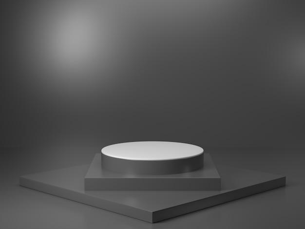 Suporte de exposição do produto com imagem de renderização 3d de cor preta, há suporte de cilindro preto com padrão de linha preta e luz de cima Foto Premium
