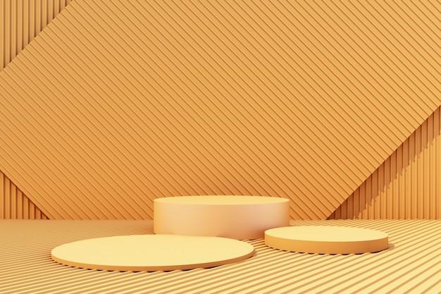 Suporte do produto com fundo de folha de metal amarelo 3d render Foto Premium