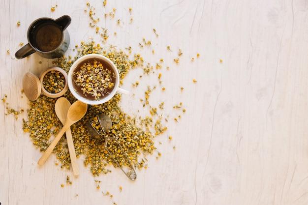Suprimentos para fabricação de chá Foto gratuita