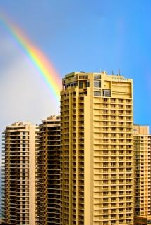 Surfistas do arco-íris paraíso Foto gratuita