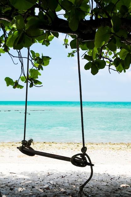 Swing pendurar em uma árvore ao lado da praia Foto gratuita