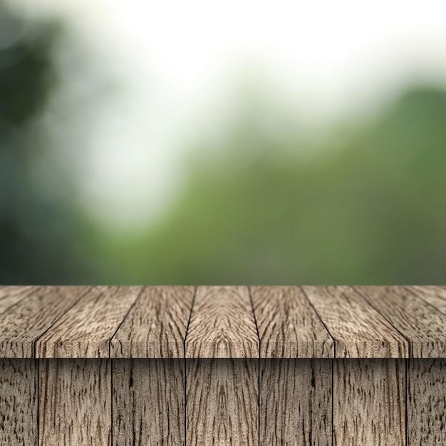 Tabela de madeira e fundo do borrão com montagem da exposição para o produto. Foto Premium
