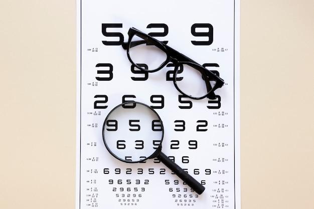 Tabela de números com óculos e lupa Foto gratuita