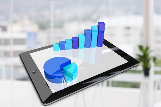 Tablet com gráficos em tons azuis Foto gratuita