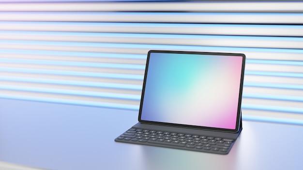 Tablet grande com teclado colocado na mesa e luz de fundo. imagem de renderização 3d. Foto Premium