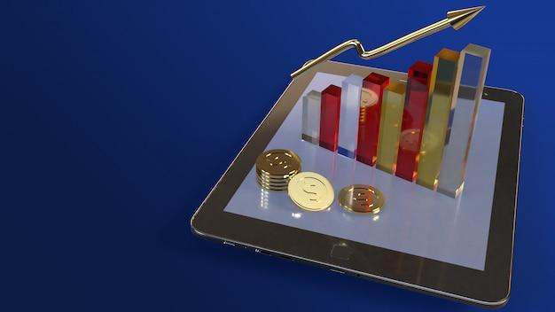 Tabuleta e carta rendição 3d para o índice do negócio. Foto Premium