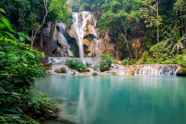 Tad kwang si cachoeira no verão, localizado na província de luang prabang, laos Foto Premium