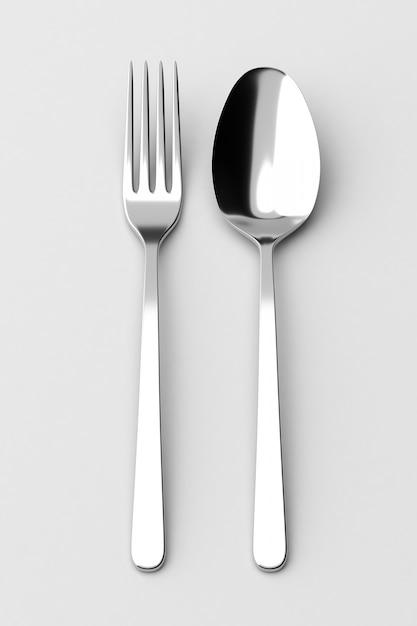 Talheres de garfo e colher Foto Premium
