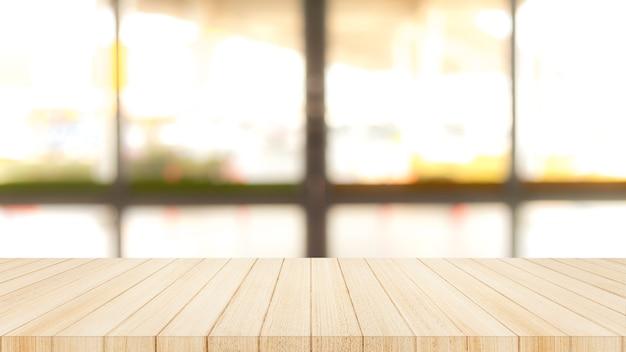 Tampo da mesa de madeira sobre com fundo da parede da janela de vidro do borrão. Foto Premium