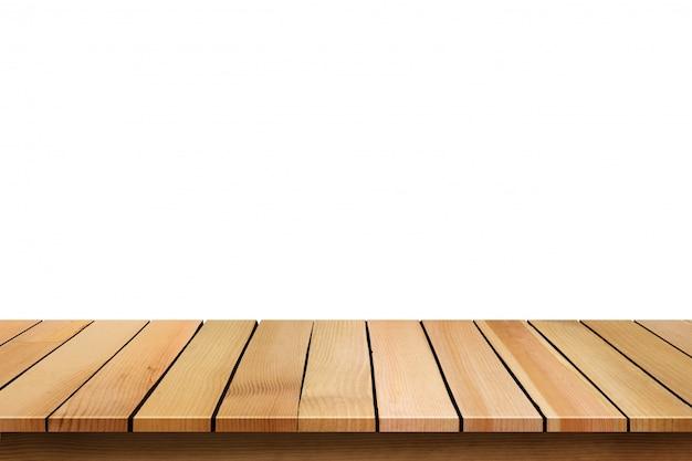 Tampo da mesa de madeira vazio isolado no fundo branco. Foto Premium