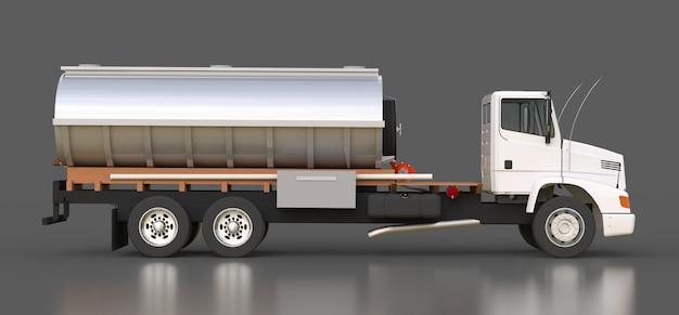 Tanque de caminhão branco grande com reboque de metal polido Foto Premium