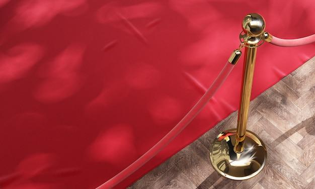 Tapete vermelho do evento e barreira dourada com corda vermelha 3d Foto Premium