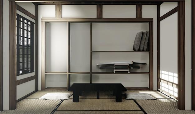 Tatames e janela de papel em estilo japonês quarto. renderização 3d Foto Premium
