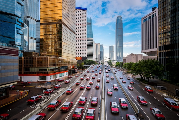 Táxi na cidade de hong kong Foto Premium