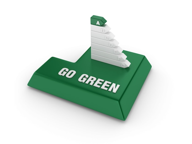 Tecla enter com diagrama de eficiência energética e palavras verdes Foto Premium