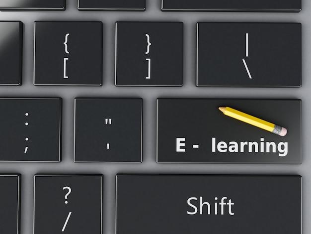 Teclado de computador 3d. conceito de educação. Foto Premium