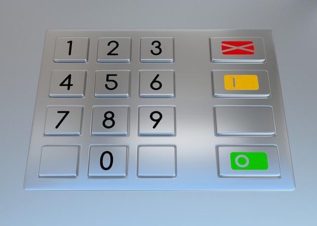 Teclado do terminal da máquina atm com botões numéricos Foto Premium