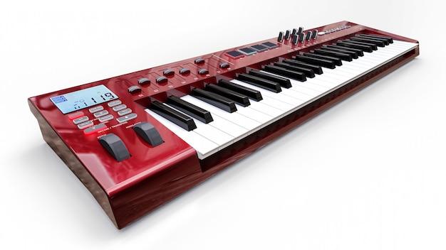 Teclado vermelho do sintetizador midi no fundo branco. close-up de chaves de sintetização. renderização 3d. Foto Premium