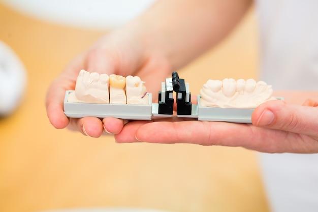 Técnico dental, verificando a dentadura Foto Premium