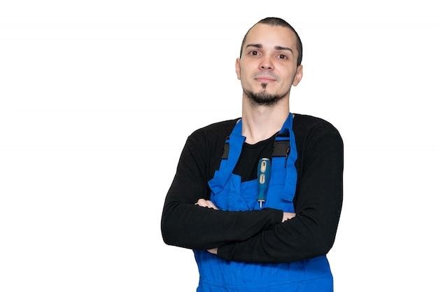 Técnico profissional de reparação, instalação e manutenção. em um terno de trabalho Foto Premium
