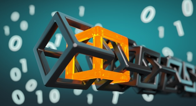 Tecnologia blockchain - cadeia de códigos digitais Foto Premium