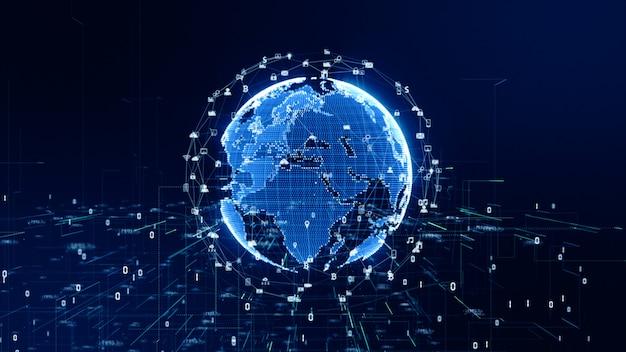Tecnologia conexão de dados de rede background Foto Premium