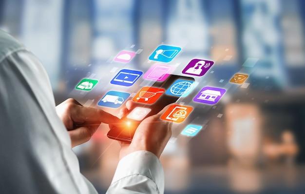 Tecnologia de canal omni do negócio de varejo on-line. Foto Premium